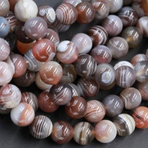 "Shop Agate Beads! Natural Botswana Agate 4mm 6mm 8mm 10mm 12mm 14mm 20mm Round Beads A Grade High Quality Vivid Veins Bands 15.5"" Strand 