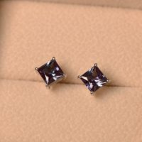 Alexandrite Earrings, Stud Earrings, Princess Cut, Sterling Silver | Natural genuine Gemstone jewelry. Buy crystal jewelry, handmade handcrafted artisan jewelry for women.  Unique handmade gift ideas. #jewelry #beadedjewelry #beadedjewelry #gift #shopping #handmadejewelry #fashion #style #product #jewelry #affiliate #ad