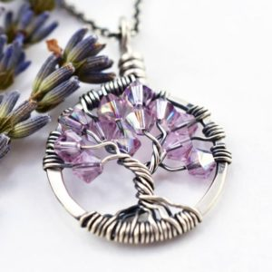 Shop Alexandrite Necklaces! Alexandrite Necklace Tree of Life Necklace, 50th Birthday Gift for Women, Silver Tree of Life Pendant, Crystal Jewelry Purple Necklace June | Natural genuine Alexandrite necklaces. Buy crystal jewelry, handmade handcrafted artisan jewelry for women.  Unique handmade gift ideas. #jewelry #beadednecklaces #beadedjewelry #gift #shopping #handmadejewelry #fashion #style #product #necklaces #affiliate #ad