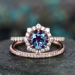 Shop Alexandrite Rings! 2pcs round alexandrite engagement ring set rose gold moissanite halo ring matching stacking diamond wedding band alexandrite ring bridal set | Natural genuine Alexandrite rings, simple unique alternative gemstone engagement rings. #rings #jewelry #bridal #wedding #jewelryaccessories #engagementrings #weddingideas #affiliate #ad
