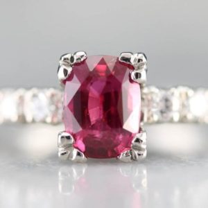 Amazing Ruby and Diamond Ring, Platinum Ruby Ring, Ruby Engagement Ring, Anniversary Ring, Birthstone Ring, Retro Ruby Ring TAJMDZ9J | Natural genuine Array rings, simple unique alternative gemstone engagement rings. #rings #jewelry #bridal #wedding #jewelryaccessories #engagementrings #weddingideas #affiliate #ad