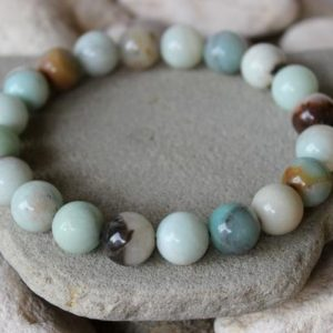 Shop Amazonite Bracelets! 10mm Amazonite Bracelet, Amazonite Wrist Mala, Amazonite Bracelet, Chakra Bracelet, Balance Chakras, First Quality Amazonite, Amazonite | Natural genuine Amazonite bracelets. Buy crystal jewelry, handmade handcrafted artisan jewelry for women.  Unique handmade gift ideas. #jewelry #beadedbracelets #beadedjewelry #gift #shopping #handmadejewelry #fashion #style #product #bracelets #affiliate #ad