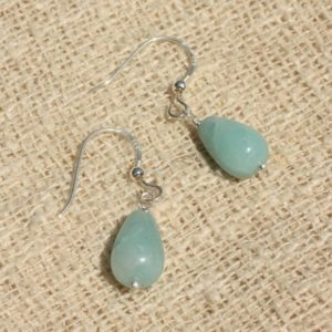 Shop Amazonite Earrings! Earrings 925 Silver – Amazonite drops 12x8mm | Natural genuine Amazonite earrings. Buy crystal jewelry, handmade handcrafted artisan jewelry for women.  Unique handmade gift ideas. #jewelry #beadedearrings #beadedjewelry #gift #shopping #handmadejewelry #fashion #style #product #earrings #affiliate #ad