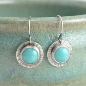 Shop Amazonite Earrings! amazonite hammered circle sterling silver earrings | Natural genuine Amazonite earrings. Buy crystal jewelry, handmade handcrafted artisan jewelry for women.  Unique handmade gift ideas. #jewelry #beadedearrings #beadedjewelry #gift #shopping #handmadejewelry #fashion #style #product #earrings #affiliate #ad