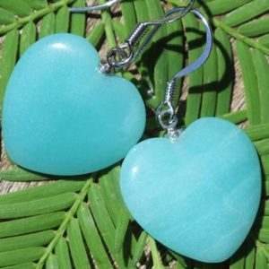 Shop Heart Shaped Earrings! Amazonite Hearts Healing Stone Earrings with Positive Energy! | Natural genuine Gemstone earrings. Buy crystal jewelry, handmade handcrafted artisan jewelry for women.  Unique handmade gift ideas. #jewelry #beadedearrings #beadedjewelry #gift #shopping #handmadejewelry #fashion #style #product #earrings #affiliate #ad