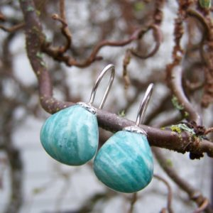 Shop Amazonite Earrings! Russian Amazonite onion full briolette, sterling silver dangle earrings | Natural genuine Amazonite earrings. Buy crystal jewelry, handmade handcrafted artisan jewelry for women.  Unique handmade gift ideas. #jewelry #beadedearrings #beadedjewelry #gift #shopping #handmadejewelry #fashion #style #product #earrings #affiliate #ad