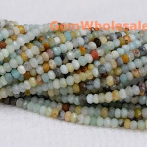 "Shop Amazonite Faceted Beads! 15.5"" 4x6mm Natural amazonite rondelle beads, semi-precious stone,multi color DIY beads, gemstone wholesaler, amazonite roundel faceted QGCO 