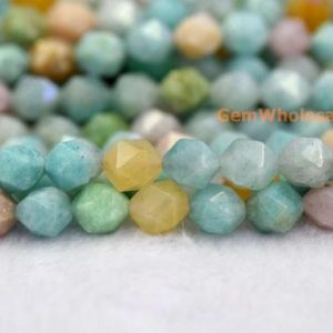 "Shop Amazonite Faceted Beads! 15.5"" 8mm Natural amazonite stone round faceted beads,blue green yellow color DIY gemstone beads, semi precious stone, star faceted beads 