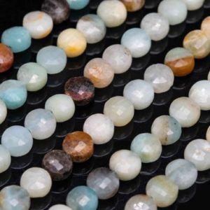 """Shop Amazonite Faceted Beads! 6-7MM Multicolor Amazonite Beads Faceted Flat Round Button Grade AA Genuine Natural Gemstone Loose Beads 15"""" / 7"""" Bulk Lot Options (111656) 
