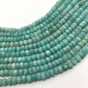 Shop Amazonite Faceted Beads! Natural Amazonite Micro Faceted Rondelle Beads, 3.5mm to 4mm, 13 inches, Rondelle Beads, Blue Beads, Gemstone Beads | Natural genuine faceted Amazonite beads for beading and jewelry making.  #jewelry #beads #beadedjewelry #diyjewelry #jewelrymaking #beadstore #beading #affiliate #ad