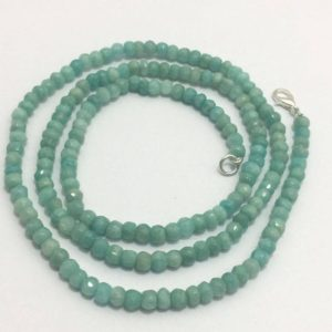 "Shop Amazonite Necklaces! Amazonite Micro Faceted Rondelle 4.5 to 5 mm 26"" Necklace/Gemstone Bead/Semi Precious Beads/Rare Beads/Quality Beads/Natural Beads/Amazonite 