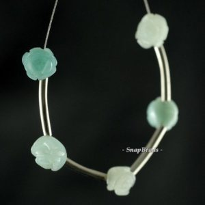 8x5mm Aqua Amazonite Gemstone Carved Rose Flower 8x5mm Loose Beads 5 Beads (90189993-93) | Natural genuine other-shape Gemstone beads for beading and jewelry making.  #jewelry #beads #beadedjewelry #diyjewelry #jewelrymaking #beadstore #beading #affiliate #ad