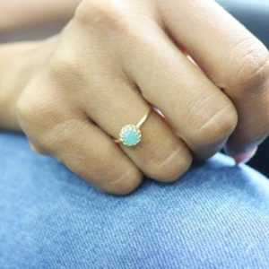 Bright Amazonite Ring, gold Ring, round Gemstone Ring, proposal Ring, engagement Ring, everyday Ring, birthday Ring | Natural genuine Amazonite rings, simple unique alternative gemstone engagement rings. #rings #jewelry #bridal #wedding #jewelryaccessories #engagementrings #weddingideas #affiliate #ad