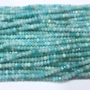 Shop Amazonite Rondelle Beads! Genuine Faceted Amazonite Green 3mm / 4mm Rondelle Cut Natural Loose Gemstone GradeA Beads 15 inch Jewelry Bracelet Necklace Material Supply | Natural genuine rondelle Amazonite beads for beading and jewelry making.  #jewelry #beads #beadedjewelry #diyjewelry #jewelrymaking #beadstore #beading #affiliate #ad