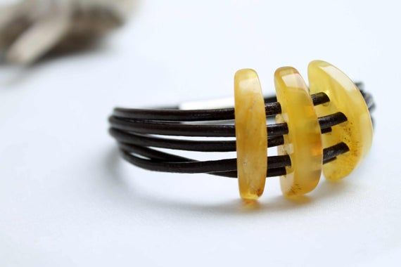 Yellow Amber Leather Ethnic Bracelet Tribal Jewelry Handcrafted Earthy Color Brown Ooak Bohemian Summer Fashion Multi Strand