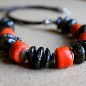 Shop Amber Necklaces! Black Amber Coral Necklace Raw Stone Baltic Red Orange Brown Pink Long Earthy Colors OOAK Rough Gemstone Jewelry | Natural genuine Amber necklaces. Buy crystal jewelry, handmade handcrafted artisan jewelry for women.  Unique handmade gift ideas. #jewelry #beadednecklaces #beadedjewelry #gift #shopping #handmadejewelry #fashion #style #product #necklaces #affiliate #ad