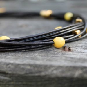 Shop Amber Necklaces! Black Leather Necklace Multi-Strand Amber Gold Modern Classic Yellow Amber Beaded Summer Style Jewelry | Natural genuine Amber necklaces. Buy crystal jewelry, handmade handcrafted artisan jewelry for women.  Unique handmade gift ideas. #jewelry #beadednecklaces #beadedjewelry #gift #shopping #handmadejewelry #fashion #style #product #necklaces #affiliate #ad