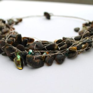 Shop Amber Necklaces! Earthy Necklace Eco Friendly Jewelry Marshy Amber Organic Style Rough Swampy Stone Black Green Necklace Natural Style Green River Mud Brown | Natural genuine Amber necklaces. Buy crystal jewelry, handmade handcrafted artisan jewelry for women.  Unique handmade gift ideas. #jewelry #beadednecklaces #beadedjewelry #gift #shopping #handmadejewelry #fashion #style #product #necklaces #affiliate #ad
