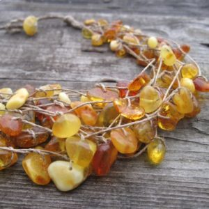 Linen Necklace, Raw Natural Baltic Amber Fishing Net Honey Amber Sunny Butterscotch Statement Necklace Multi Strand gift for her | Natural genuine Gemstone necklaces. Buy crystal jewelry, handmade handcrafted artisan jewelry for women.  Unique handmade gift ideas. #jewelry #beadednecklaces #beadedjewelry #gift #shopping #handmadejewelry #fashion #style #product #necklaces #affiliate #ad