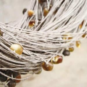 Shop Amber Jewelry! Natural Raw Amber Linen Necklace, Multi Strand Organic Jewelry, Earthy Color | Natural genuine Amber jewelry. Buy crystal jewelry, handmade handcrafted artisan jewelry for women.  Unique handmade gift ideas. #jewelry #beadedjewelry #beadedjewelry #gift #shopping #handmadejewelry #fashion #style #product #jewelry #affiliate #ad