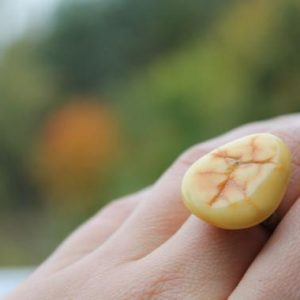 Shop Amber Jewelry! Amber Ring Adjustable Raw Yellow Amber Unique Jewelry Fossil Orange Ring Brass | Natural genuine Amber jewelry. Buy crystal jewelry, handmade handcrafted artisan jewelry for women.  Unique handmade gift ideas. #jewelry #beadedjewelry #beadedjewelry #gift #shopping #handmadejewelry #fashion #style #product #jewelry #affiliate #ad
