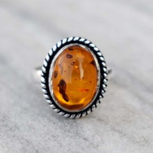 Natural Amber Ring , Baltic Amber Ring , Solid 925 Sterling Silver Orange Gemstone Ring , Antique Amber  Ring , Unique Ring , Gift for her | Natural genuine Amber rings, simple unique handcrafted gemstone rings. #rings #jewelry #shopping #gift #handmade #fashion #style #affiliate #ad