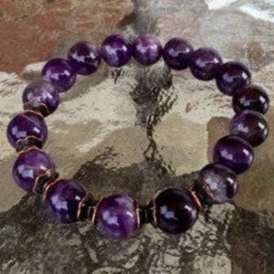 Shop Amethyst Bracelets! 10 Mm Amethyst Wrist Mala Beads Healing Wrist Bracelet – Blessed Karma, Nirvana, Meditation, Prayer Beads For Awakening Chakra Kundalini | Natural genuine Amethyst bracelets. Buy crystal jewelry, handmade handcrafted artisan jewelry for women.  Unique handmade gift ideas. #jewelry #beadedbracelets #beadedjewelry #gift #shopping #handmadejewelry #fashion #style #product #bracelets #affiliate #ad