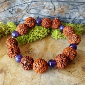 Shop Amethyst Bracelets! Rudraksha and Amethyst Crystal Stretchy Bead Bracelet   – 045 | Natural genuine Amethyst bracelets. Buy crystal jewelry, handmade handcrafted artisan jewelry for women.  Unique handmade gift ideas. #jewelry #beadedbracelets #beadedjewelry #gift #shopping #handmadejewelry #fashion #style #product #bracelets #affiliate #ad