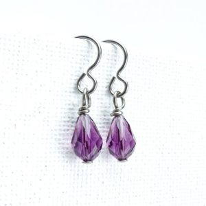 Amethyst Crystal Niobium Earrings Purple Swarovski Teardrop, Nickel Free Hypoallergenic Drop Earrings, Titanium Earrings for Sensitive Ears | Natural genuine Gemstone earrings. Buy crystal jewelry, handmade handcrafted artisan jewelry for women.  Unique handmade gift ideas. #jewelry #beadedearrings #beadedjewelry #gift #shopping #handmadejewelry #fashion #style #product #earrings #affiliate #ad