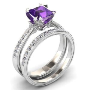 Amethyst Engagement Ring 1.00 Carat Princess Cut Amethyst And Diamond Ring In 14k or 18k White Gold. Matching Wedding Band Available SW12PUW | Natural genuine Array rings, simple unique alternative gemstone engagement rings. #rings #jewelry #bridal #wedding #jewelryaccessories #engagementrings #weddingideas #affiliate #ad