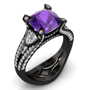 Amethyst Engagement Ring 2.00 Carat Cushion Cut Amethyst And Diamond Ring In 14k or 18k Black Gold. Style Number W31PUBK | Natural genuine Array rings, simple unique alternative gemstone engagement rings. #rings #jewelry #bridal #wedding #jewelryaccessories #engagementrings #weddingideas #affiliate #ad
