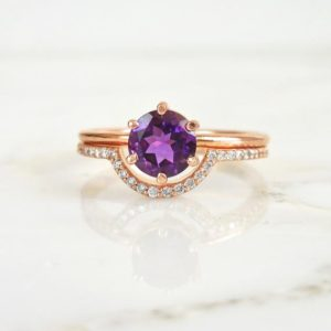 Amethyst Ring in 14k Rose Gold, Amethyst Engagement Ring, Gold Amethyst Ring, Amethyst Stone Ring, Birthstone Ring, Dainty Ring For Her, | Natural genuine Array rings, simple unique alternative gemstone engagement rings. #rings #jewelry #bridal #wedding #jewelryaccessories #engagementrings #weddingideas #affiliate #ad