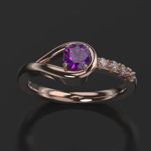 Amethyst Engagement Ring Rose Gold Engagement Ring Amethyst Ring Amethyst Gold Rose Gold Amethyst Ring | Natural genuine Array rings, simple unique alternative gemstone engagement rings. #rings #jewelry #bridal #wedding #jewelryaccessories #engagementrings #weddingideas #affiliate #ad