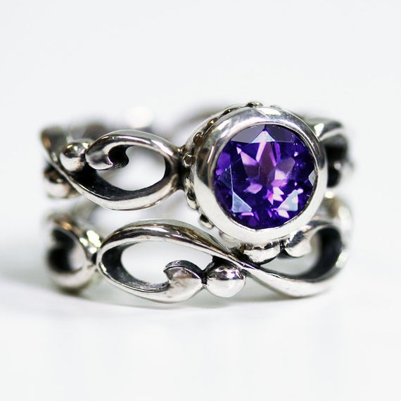 Amethyst Engagement Ring Set, February Birthstone Ring, Infinity Engagement Ring Silver Engagement Ring Bezel Engagement Ring Wrought Custom