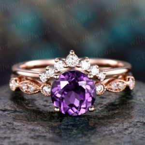 Shop Amethyst Rings! Amethyst  engagement ring set rose gold amethyst ring vintage marquise diamond ring crown matching stacking wedding promise bridal ring set | Natural genuine Amethyst rings, simple unique alternative gemstone engagement rings. #rings #jewelry #bridal #wedding #jewelryaccessories #engagementrings #weddingideas #affiliate #ad