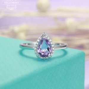 Shop Amethyst Rings! Amethyst engagement ring Vintage engagement ring Women Wedding Diamond Pear shaped Halo set Jewelry Bridal Anniversary gift for her Promise | Natural genuine Amethyst rings, simple unique alternative gemstone engagement rings. #rings #jewelry #bridal #wedding #jewelryaccessories #engagementrings #weddingideas #affiliate #ad