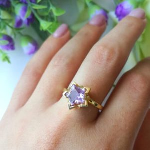 Amethyst Engagement Ring, Amethyst Wedding Ring, Amethyst Star Ring 14k Gold Gemstone Ring Gold 14k, Solitaire Amethyst Ring 14K | Natural genuine Array rings, simple unique alternative gemstone engagement rings. #rings #jewelry #bridal #wedding #jewelryaccessories #engagementrings #weddingideas #affiliate #ad