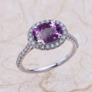 Amethyst Engagement Ring White Gold, East West Oval Amethyst Halo Engagement Ring White Gold, Amethyst Halo Engagement Ring White Gold | Natural genuine Array rings, simple unique alternative gemstone engagement rings. #rings #jewelry #bridal #wedding #jewelryaccessories #engagementrings #weddingideas #affiliate #ad
