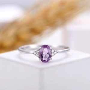 Amethyst engagement ring white gold, cluster diamond ring prong set,oval cut Amethyst wedding ring, anniversary bridal ring, promise ring | Natural genuine Gemstone rings, simple unique alternative gemstone engagement rings. #rings #jewelry #bridal #wedding #jewelryaccessories #engagementrings #weddingideas #affiliate #ad