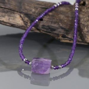 Shop Amethyst Necklaces! Amethyst Necklace, Natural Amethyst Beaded Necklace, 19 inch Amethyst Silver Necklace, Amethyst Beaded Jewelry, Gift for Her | Natural genuine Amethyst necklaces. Buy crystal jewelry, handmade handcrafted artisan jewelry for women.  Unique handmade gift ideas. #jewelry #beadednecklaces #beadedjewelry #gift #shopping #handmadejewelry #fashion #style #product #necklaces #affiliate #ad
