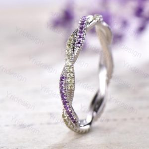 Shop Unique Amethyst Engagement Rings! Vintage peridot ring 14k white gold unique full eternity twisted stackable amethyst wedding band August birthstone ring anniversary gift | Natural genuine Amethyst rings, simple unique alternative gemstone engagement rings. #rings #jewelry #bridal #wedding #jewelryaccessories #engagementrings #weddingideas #affiliate #ad