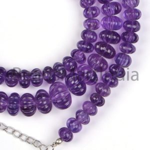 Shop Amethyst Rondelle Beads! Amethyst Carving Rondelle Shape Beads, Purple Amethyst Melon Shape Beads, Amethyst Fancy Shape Beads, Amethyst Carving Beads | Natural genuine rondelle Amethyst beads for beading and jewelry making.  #jewelry #beads #beadedjewelry #diyjewelry #jewelrymaking #beadstore #beading #affiliate #ad