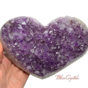 Shop Amethyst Shapes! 2 lb AMETHYST Heart Polished Edge Geode + Stand for Meditation #AH52 | Natural genuine stones & crystals in various shapes & sizes. Buy raw cut, tumbled, or polished gemstones for making jewelry or crystal healing energy vibration raising reiki stones. #crystals #gemstones #crystalhealing #crystalsandgemstones #energyhealing #affiliate #ad