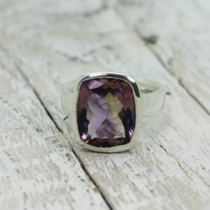 Shop Ametrine Rings! Perfect Ametrine ring … purple and yellow Ametrine stone ring rectangulat shape cut stone flat top set on sterling silver 925 genuine | Natural genuine Ametrine rings, simple unique handcrafted gemstone rings. #rings #jewelry #shopping #gift #handmade #fashion #style #affiliate #ad
