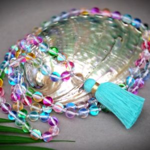Shop Angel Aura Quartz Necklaces! Rainbow Angel Aura Quartz Spectrolite Crystal 8mm Custom Tassel Multicolor 108 Hand-knotted Mala Meditation Clear Quartz | Natural genuine Angel Aura Quartz necklaces. Buy crystal jewelry, handmade handcrafted artisan jewelry for women.  Unique handmade gift ideas. #jewelry #beadednecklaces #beadedjewelry #gift #shopping #handmadejewelry #fashion #style #product #necklaces #affiliate #ad