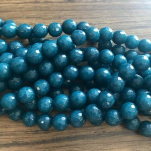 Shop Angelite Beads! angelite faceted round 10mm gemstone Bead -15.5 inch strand 1 strand/3 strands | Natural genuine faceted Angelite beads for beading and jewelry making.  #jewelry #beads #beadedjewelry #diyjewelry #jewelrymaking #beadstore #beading #affiliate #ad