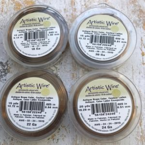 Shop Beading Wire! Antique Brass Artistic Wire, Choose 18 gauge, 20 gauge, 22 gauge, 24 gauge, jewelry wire, craft wire, art wire | Shop jewelry making and beading supplies, tools & findings for DIY jewelry making and crafts. #jewelrymaking #diyjewelry #jewelrycrafts #jewelrysupplies #beading #affiliate #ad
