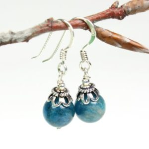 Shop Apatite Earrings! Blue Apatite Sterling Silver Earrings natural gemstone simple classic boho dainty dangle drops birthday gift mom wife girlfriend aunty 5597 | Natural genuine Apatite earrings. Buy crystal jewelry, handmade handcrafted artisan jewelry for women.  Unique handmade gift ideas. #jewelry #beadedearrings #beadedjewelry #gift #shopping #handmadejewelry #fashion #style #product #earrings #affiliate #ad