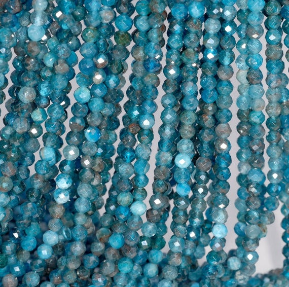3mm Apatite Gemstone Grade Aa Fine Faceted Round 3mm Loose Beads 15.5 Inch Full Strand (80004495-854)