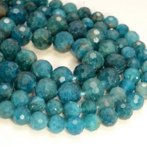 Shop Apatite Beads! Deep Blue Apatite Gemstone Grade AAA Micro Faceted Round 6mm 8mm Loose Beads (A258) | Natural genuine beads Apatite beads for beading and jewelry making.  #jewelry #beads #beadedjewelry #diyjewelry #jewelrymaking #beadstore #beading #affiliate #ad